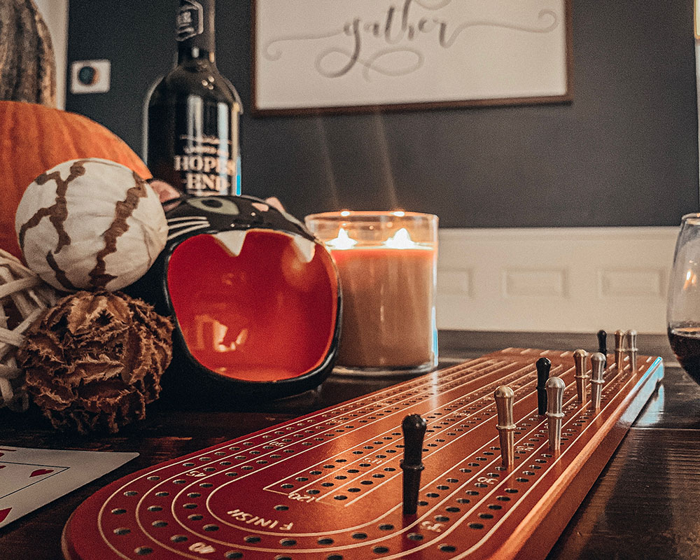 Halloween Theme Red Cribbage Board